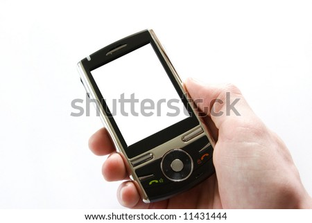 hands with communicator isolated over white background - stock photo