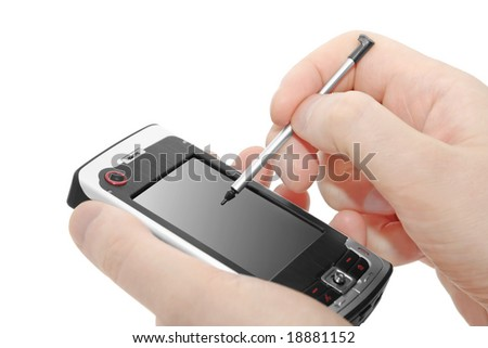 Hands with communicator on a white background