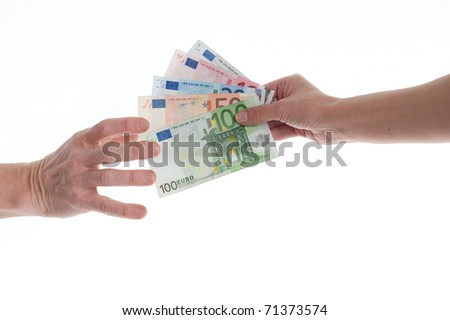 hands with Euro-cash, close up