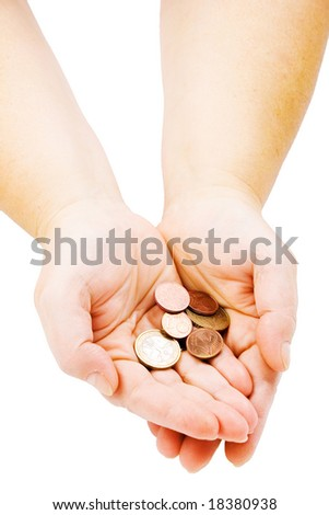 Hands with few euro cents isolated