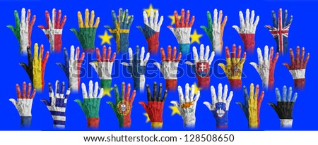Hands with flag painting of the EU-coutries, isolated - stock photo