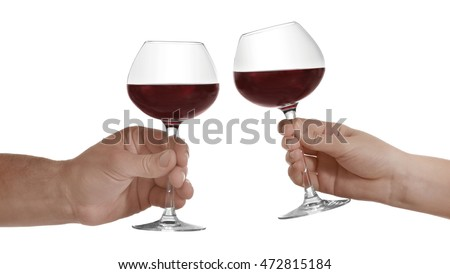 Hands with glasses of red wine, isolated on white