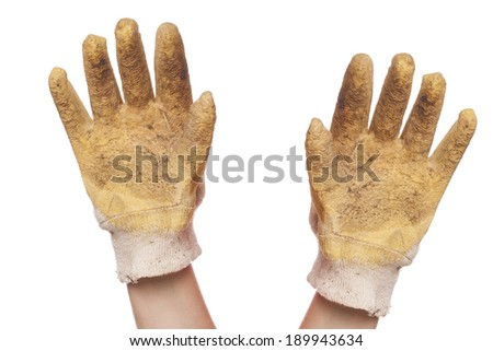 hands with glove isolated on white