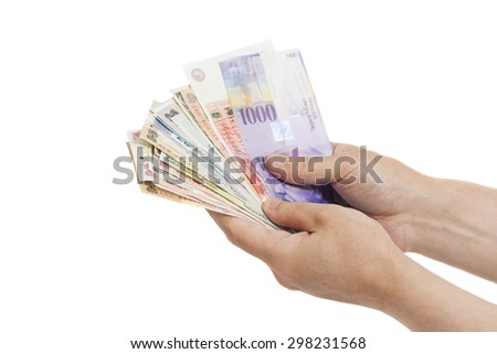 Hands With International Currencies isolated
