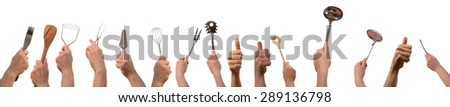 Hands with kitchen tools and thumbs up on a white background