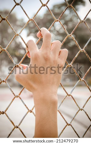 Hands with Mesh cage, Hands with steel mesh fence - stock photo