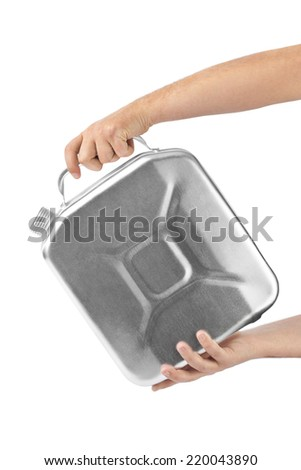 Hands with metal jerrycan isolated on white background - stock photo