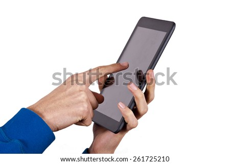 hands with mobile tablet