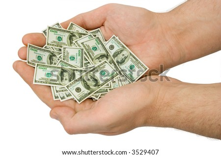Hands with money, isolated on white background