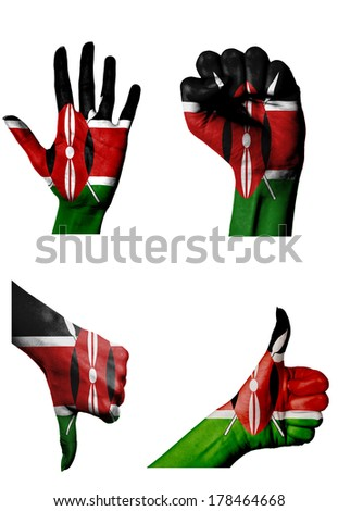 hands with multiple gestures (open palm, closed fist, thumbs up and down) with Kenya flag painted isolated on white - stock photo