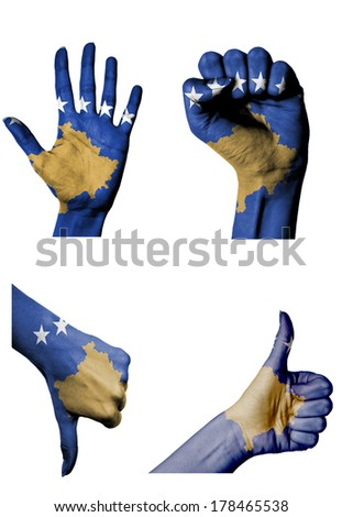 hands with multiple gestures (open palm, closed fist, thumbs up and down) with Kosovo flag painted isolated on white