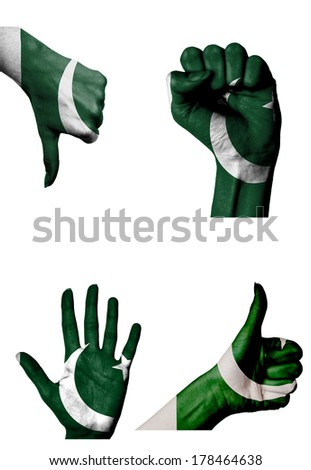 hands with multiple gestures (open palm, closed fist, thumbs up and down) with Pakistan flag painted isolated on white - stock photo