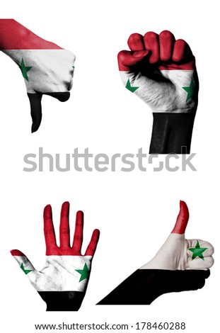 hands with multiple gestures (open palm, closed fist, thumbs up and down) with Syria flag painted isolated on white - stock photo