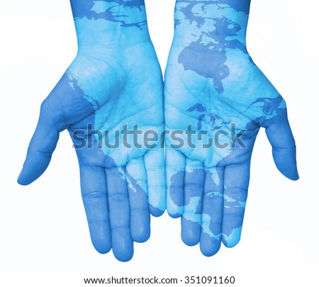Hands with North America, map of the United States and Canada. The world in your hand - stock photo