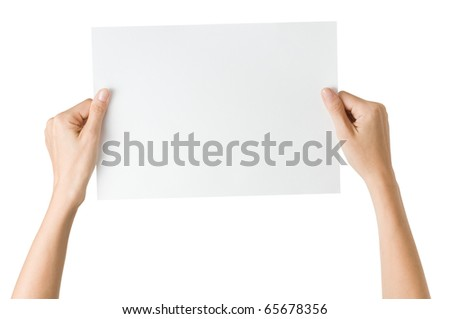 hands with paper isolated