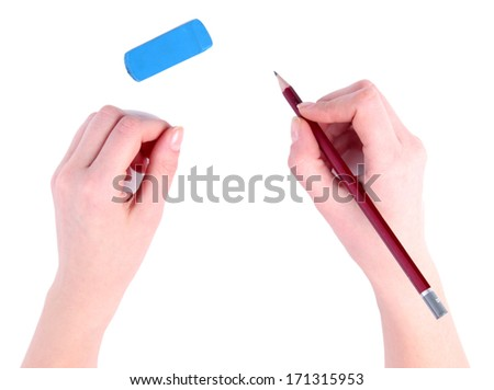 Hands with pencil and eraser isolated on white
