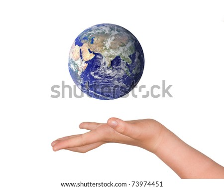 Hands with planet earth - stock photo
