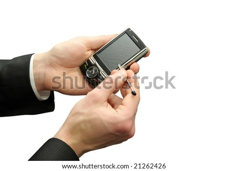 hands with smartphone isolated over white background - stock photo