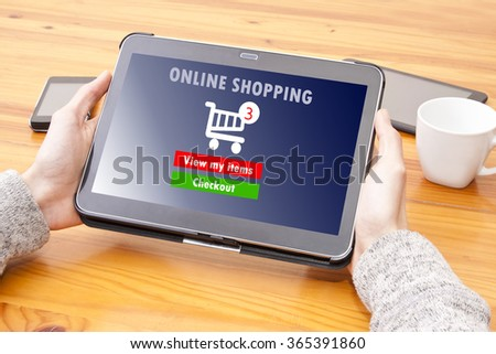 hands with tablet and on line shopping - stock photo