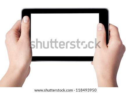 Hands with tablet computer isolated on white background - stock photo