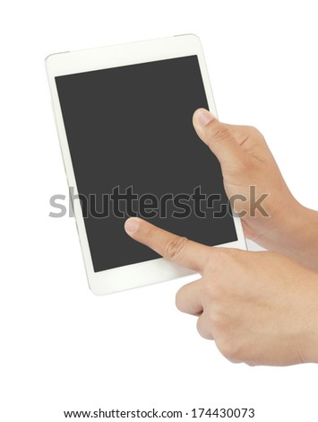 Hands with tablet computer on white background.