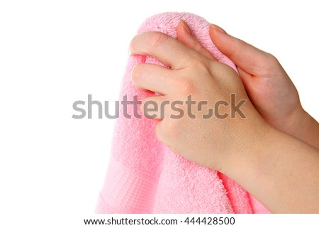 Hands with towel - stock photo