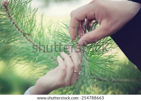 hands with wedding rings young couple in wedding day