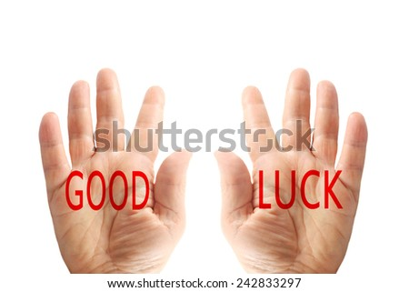 Hands with words, good luck, isolated