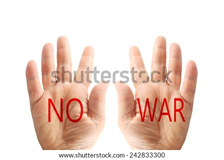 Hands with words, no war, isolated