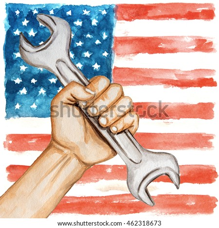Hands with wrench on the background of the USA flag . happy labor day watercolor illustration
