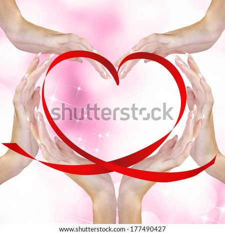 Hands Woman with Red Silk Heart.Love Concept.Valentine Day