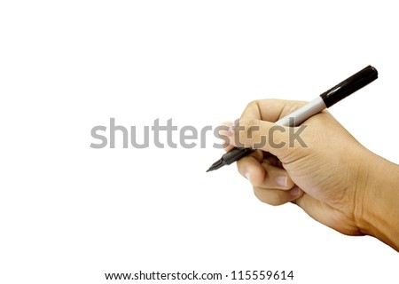 Hands writing isolated on white background - stock photo