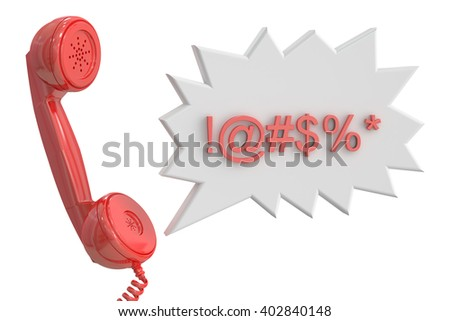 Handset and speech bubble with censored swearing words, 3D rendering - stock photo