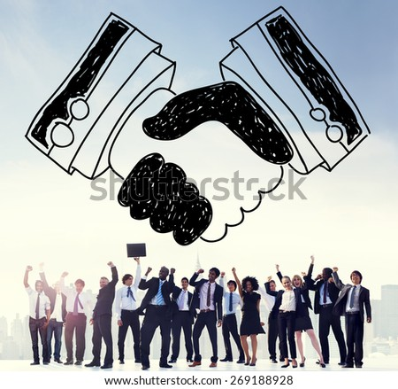 Handshake Agreement Partnership Deal Trust Welcome Concept - stock photo