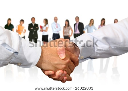 handshake and businesspeople
