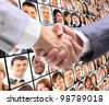 handshake and virtual background - stock photo