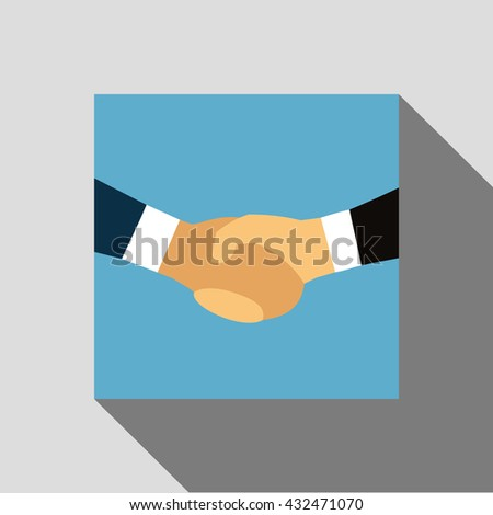 Handshake Asian, European, African-American. Shaking hands business illustration symbol of success deal, happy partnership, greeting shake, flat sign design isolated on blue background. Handshake Logo - stock photo