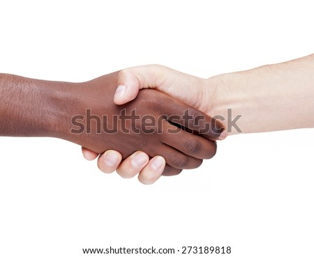 Handshake between caucasian and african man, racism concept - stock photo