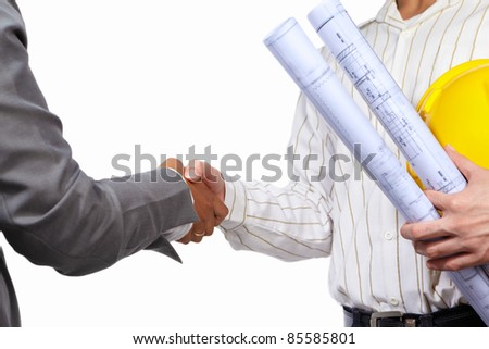 Handshake between civil engineer and businesswoman, isolated over white background - stock photo