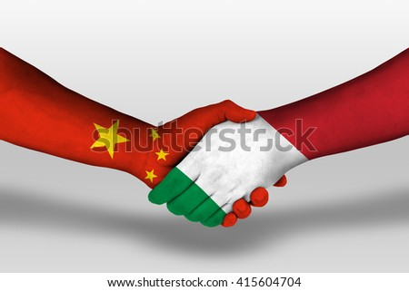 Handshake between italy and china flags painted on hands, illustration with clipping path. - stock photo