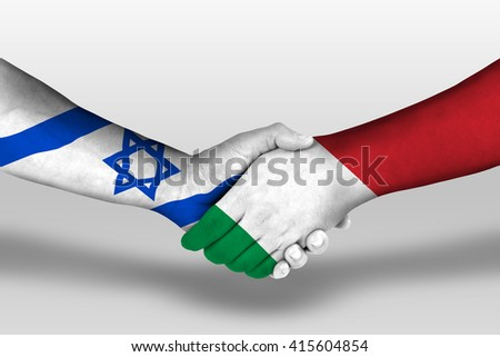 Handshake between italy and israel flags painted on hands, illustration with clipping path. - stock photo