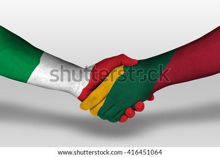 Handshake between lithuania and italy flags painted on hands, illustration with clipping path. - stock photo