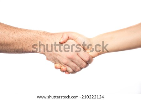 Handshake between man and woman isolated on white background