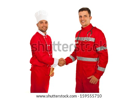 Handshake between paramedic and chef male isolated onw hite background - stock photo