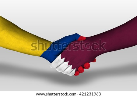 Handshake between qatar and columbia flags painted on hands, illustration with clipping path.