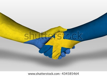 Handshake between sweden and ukraine flags painted on hands, illustration with clipping path.