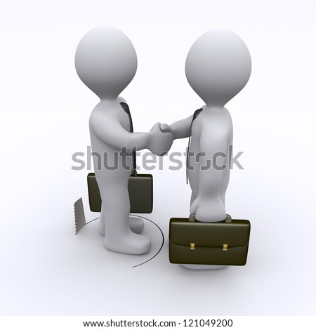 Handshake between two businessmen is sabotaged by hole in the ground - stock photo