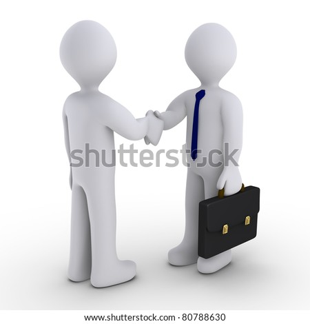 Handshake between two 3d men