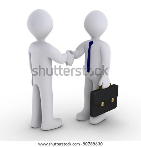 Handshake between two 3d men - stock photo