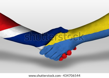 Handshake between ukraine and thailand flags painted on hands, illustration with clipping path.